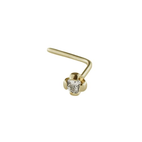 Mia Gioielli - Nose jewellery, nose studs piercing 18ct gold with Cubic Zirconia Ø 1.75, hypoallergenic, F-07126-0G07