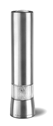 COLE & MASON Hampstead Precision Electric Salt Grinder with LED Light, Stainless Steel (Electric Sea Salt Grinder compare prices)