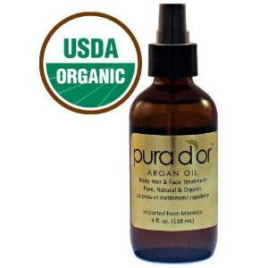 Pura D'or Pure and Organic Argan Oil, Brown and Gold, 4 Fluid Ounce