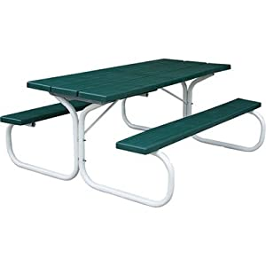 Leisure Time Injection-Molded Picnic Table - 72in., Hunter Green, Model# 25065 by Leisure Time Products