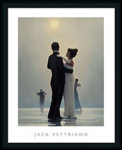 Dance Me To The End Of Love By Jack Vettriano Dancing Couple 24X32 Framed Art,Frame Choice:Country Navy Frame
