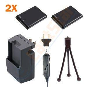 Kapaxen Two High Capacity Samsung BP70A Replacement Battery Packs + Charger Kit + Bonus Mini Tripod for Select Samsung Digital Cameras