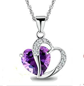 Rhodium plated 925 silver diamond amethyst crystal heart shape pendant charm jewellery 45 cm chain necklace