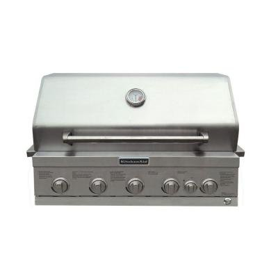 KitchenAid 4-Burner Built-In Stainless Steel Propane Gas Island Grill Head with Searing Main Burner and Rotisserie Burner (Kitchen Aid Island Grill compare prices)