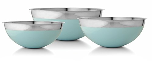 Azure Blue Stainless Steel Mixing Bowls