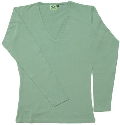 Organic Cotton Women's Long Sleeve Top V-Neck GOTS Certified