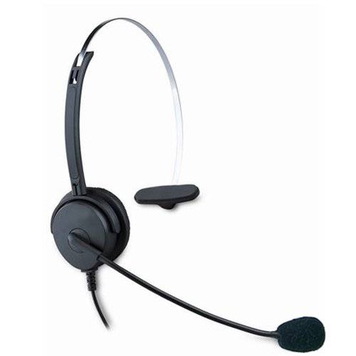 Black Call Center Hands-Free Headset Headphone Desk Telephone Monaural Mic Mircrophone Noice Cancelling