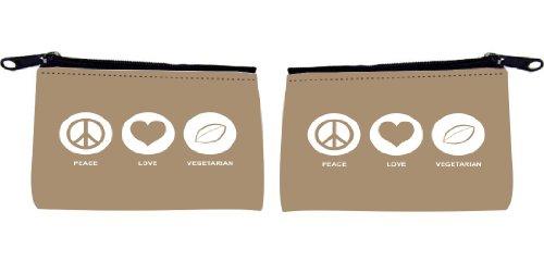 Rikki KnightTM Peace Love Vegetarian Design Design Scuba Foam Coin Purse
