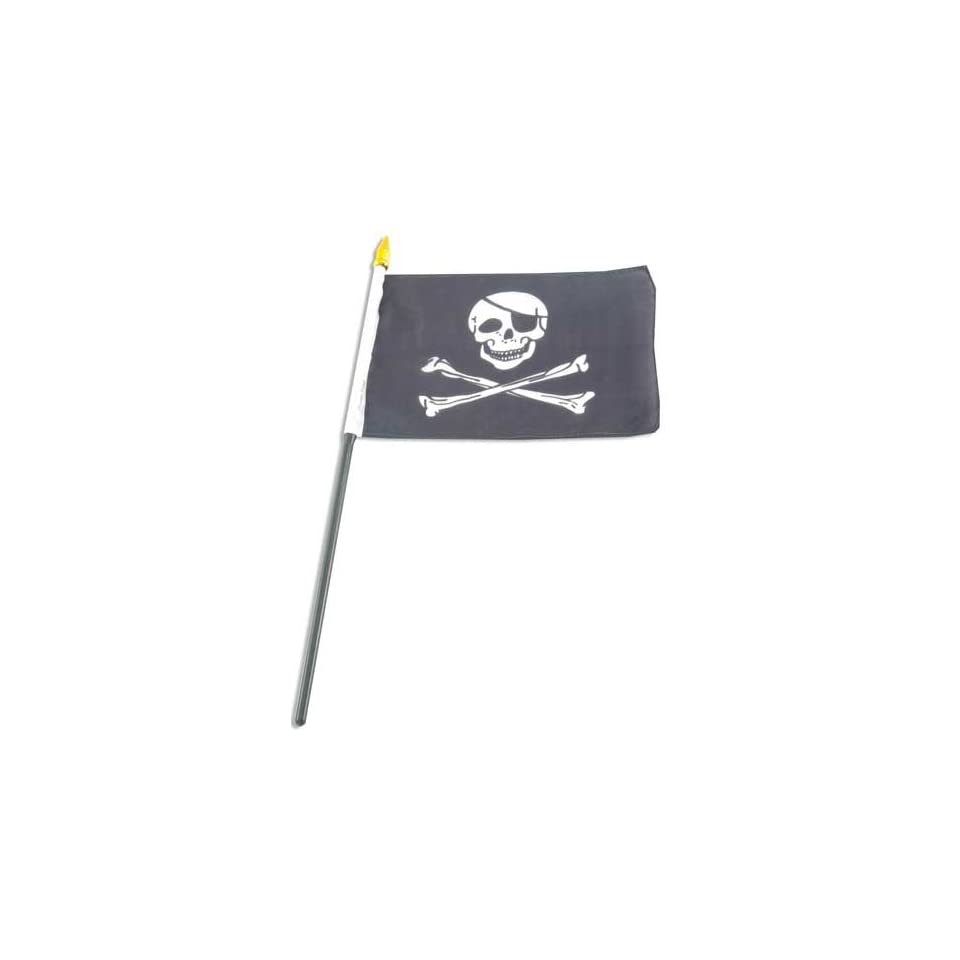 Jolly Roger Pirate 4x6 inch hand flag