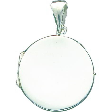 Sterling Silver Round Locket Pendant Jewelry 39mm