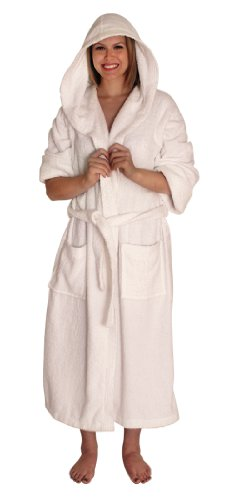 NDK New York Women's and Men's Hooded Terry Cloth Bath Robe,Large/X-Large,White (Hooded Terry Cloth Robe For Women compare prices)