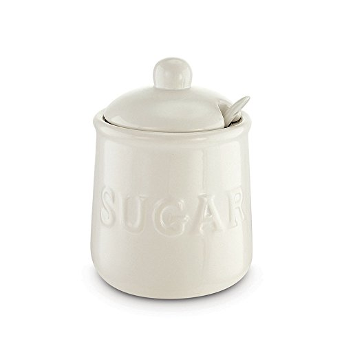 KOVOT Ceramic Sugar Jar & Spoon Set, 16 oz, White