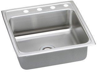 Elkao|#Elkay MLR22222 18 Gauge Stainless Steel 22 Inch x 7.625 Inch single Bowl Top Mount Kitchen Sink, 2 Faucet Holes,
