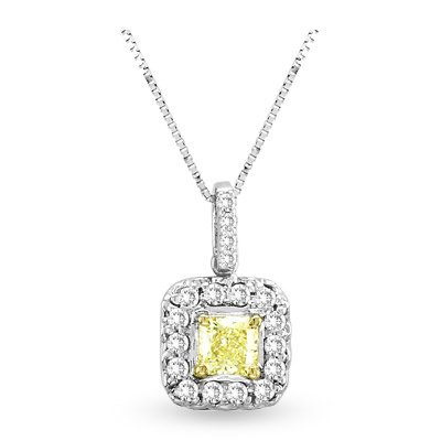 0.64ct tw White & Natural Fancy Yellow Radiant Cut Diamonds Pendant 18 kt Gold With 16 Inch Chain image