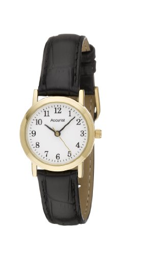 Accurist Black Leather Strap Ladies Watch - LS670WA