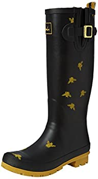 Joules Womens Black Bees Wellington Boots