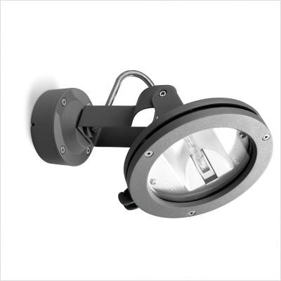 Leds C4 Outdoor Lighting Skade Wall Light, Transparent Hardened Glass, Grey