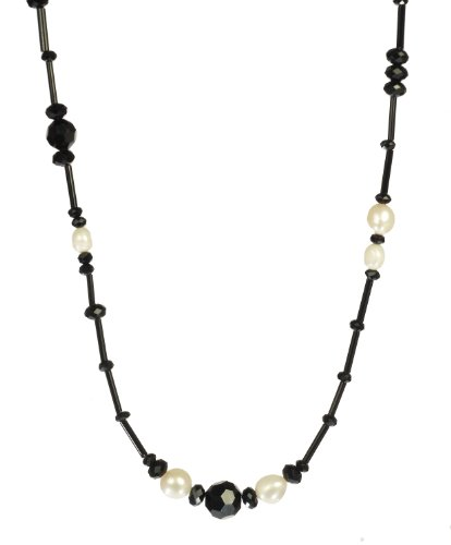 Black Glass Strand and Rondelles with White Multi-Shaped Freshwater Cultured Pearls Endless Necklace 30