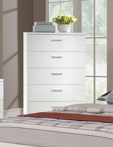 Modern Bedroom Chest with Storage Drawers in White Finish by Poundex