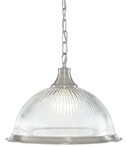 Jersey American Diner Ceiling Pendant Light in Silver with Clear Glass Shade by Lights4Living