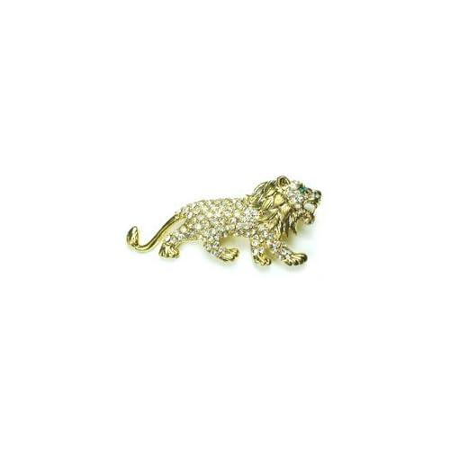 Clear Austrian Rhinestone Lion Gold Tone Brooch Pin