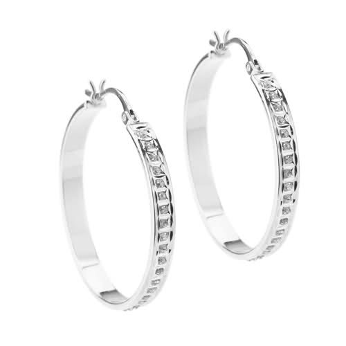 Diamond Mystique ® Platinum Over Sterling Silver Diamond Accent Bold Round Hoop Earrings