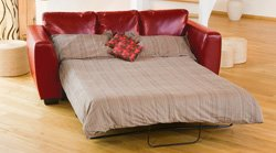 Brand New Red 3 Seat Sofabed in Bonded Leather       Customer review and more information