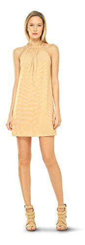 STRIPED JERSEY HALTER DRESS YELLOW / CREAM, M