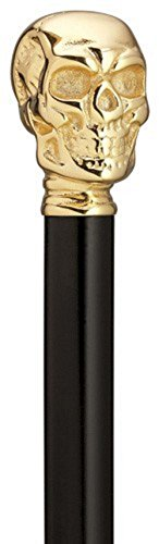 Brass Plated Skull Walking Stick Manufactured in USA by Harvy Co. by Harvy Cane