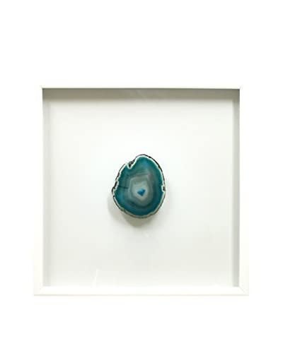White Floating Frame with Geode, Teal