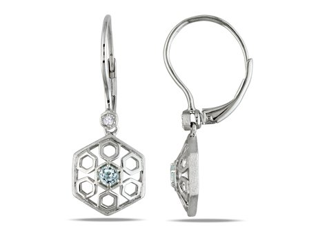 Sterling Silver, Diamond and Blue Topaz Earrings(.03 cttw, GH Color, I1-I2 Clarity), 17