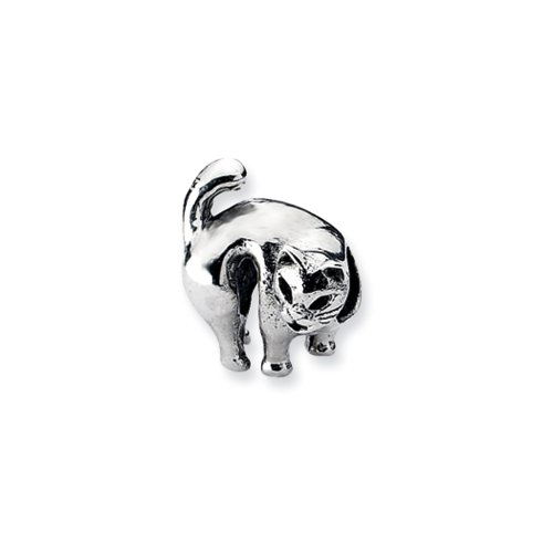 Sterling Silver Scary Cat Charm for 3mm Charm Bracelets