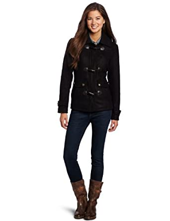 Southpole Juniors Hooded Jacket with Toggle Buttons, Black, XX-Large
