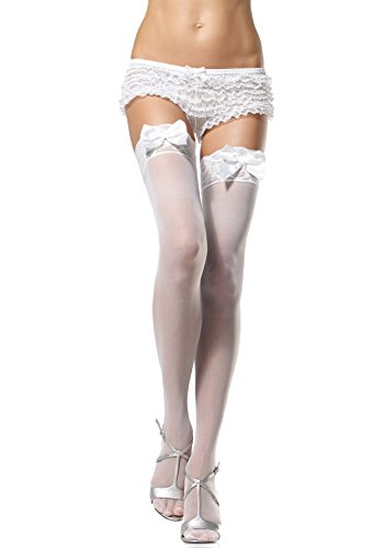 Sheer Thigh Highs Lace Top With Satin Bow One Size White