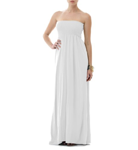 Strapless smocked maxi dresses