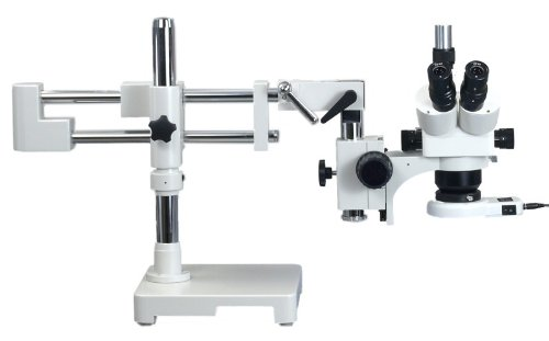 Omax 5X-80X Zoom Binocular Dual-Bar Boom Stand Stereo Microscope With 54 Led Ring Light