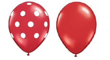 24 Assorted Balloons - Red with White Polka Dots and Plain Red