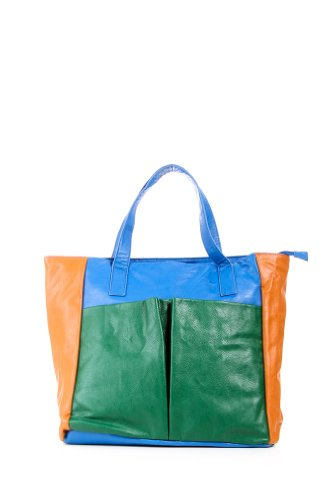 Color Block Zip Tote in Green and Blue