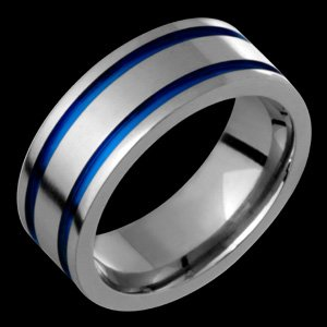 Adora - size 5.50 Titanium Band with Dark Blue Grooves. Choose Your Color for Free!