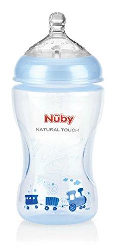 Nuby-NT68009-Natural-Touch-Weithalsflasche-330-ml-blue-Design