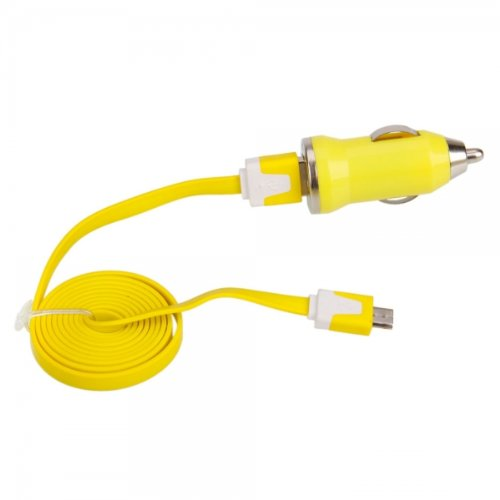 Yellow Car Vehicle Charger Adapter With Data Cable For Casio G'Zone Commando 4G Lte By Things Needed