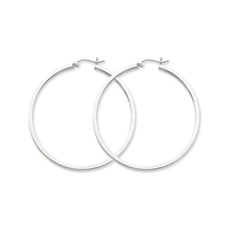 2mm, Silver, Polished Square Hoops - 65mm (2-1/2