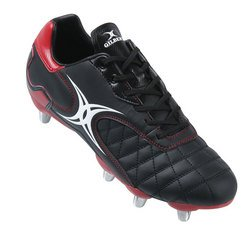 Sidestep Revolution High Cut Hard Toe SG Rugby Boots Black/Red