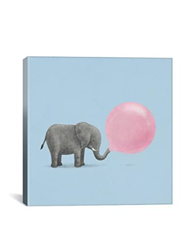 Terry Fan Jumbo Bubble Gum Blue Square Gallery-Wrapped Canvas Print
