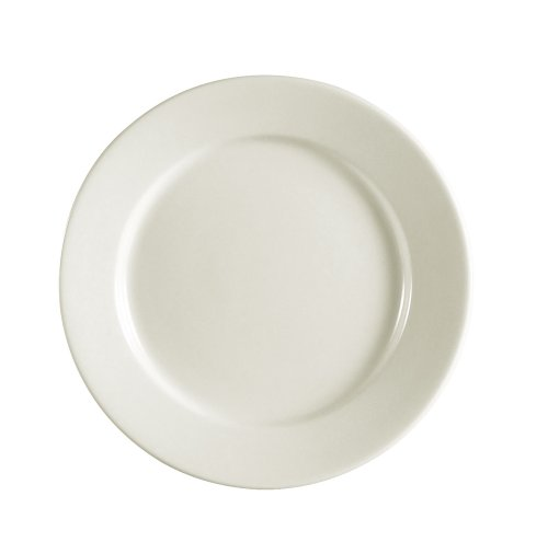 Cac China Rec-21 Rolled Edge 12-Inch Stoneware Round Plate, American White, Box Of 12
