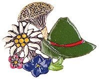 Bavarian Hat and Edelweiss German Pewter Pin