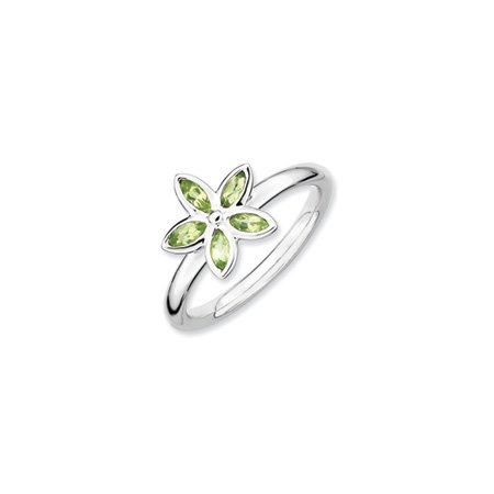 Silver Stackable Expressions Peridot Flower Ring