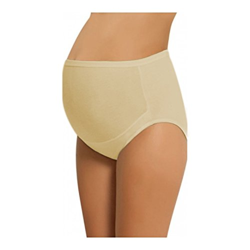 NBB Women's Adjustable Maternity high cut 100% Cotton underwear, Brief Beige Medium