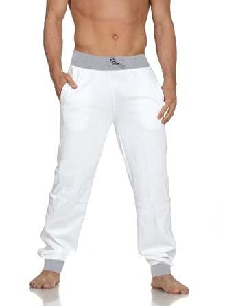 Bas de jogging bi couleur blanc pour homme - Taille S