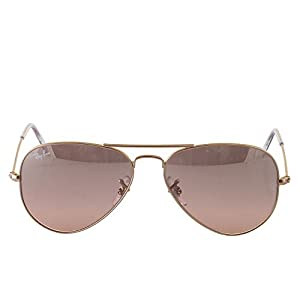 Ray-Ban Men's Aviator Large Metal Aviator Sunglasses, Arista,Crystal Brown & Pink Silver Mirror, 55 mm